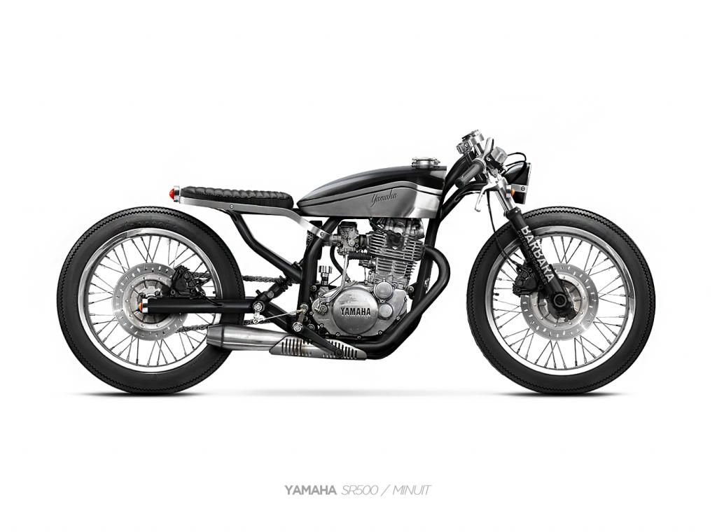Dessin Moto Custom dans la roue de barbara | 4h10