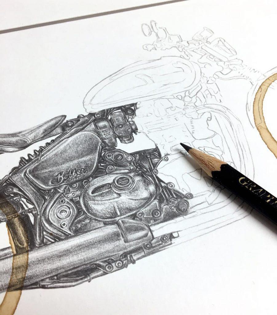 Carter Asmann-café-tache-dessin-croquis-custom-Motorcycle, moto-bike-artiste-Coffee Stain-artiste