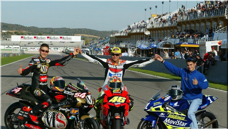 Poggiali, Rossi et Pedrosa: trois champions du monde qui utilisent l'équipement moto Dainese