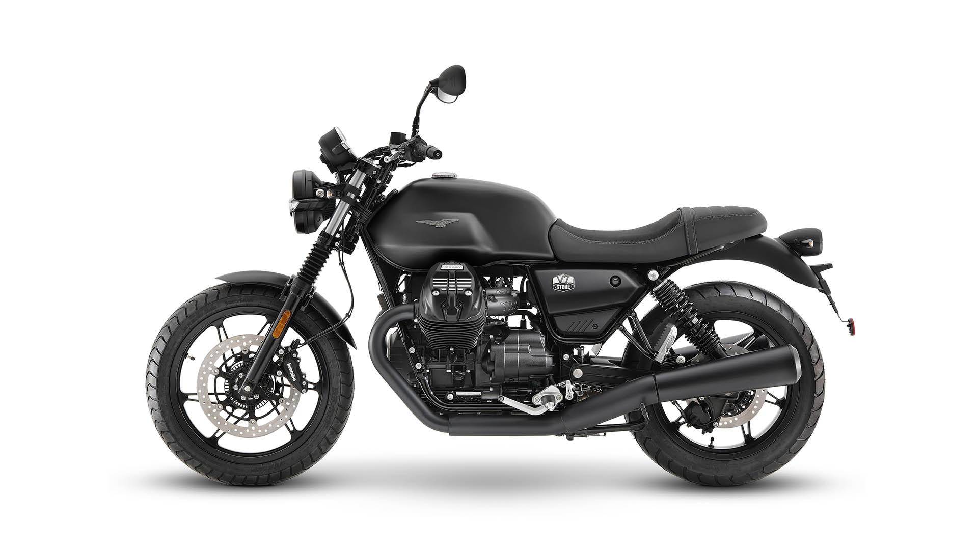 Moto Guzzi V7 2021 Nero Ruvido noir cote gauche