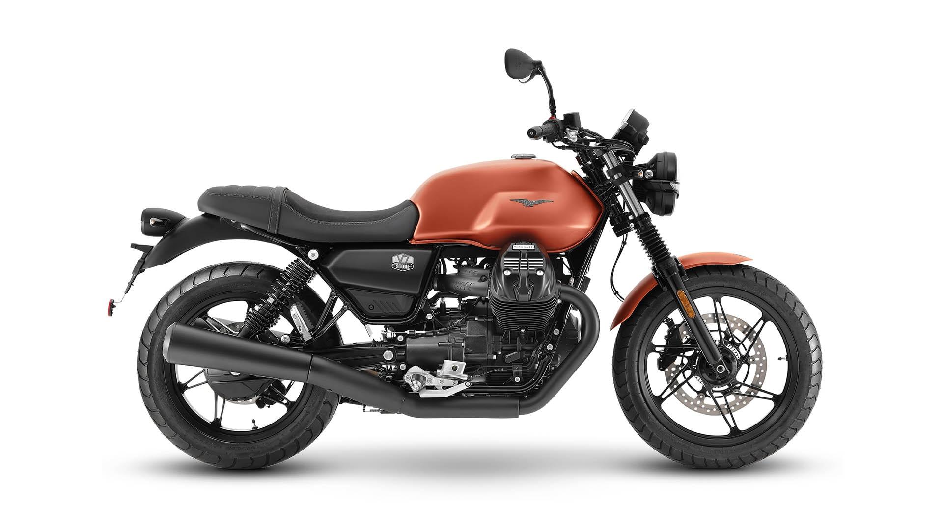 Moto Guzzi V7 2021 Arancione Rame droit